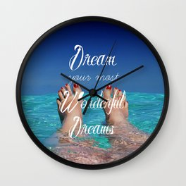 Dream Your Most Wonderful Dreams - Ocean Beach Swim Wall Clock