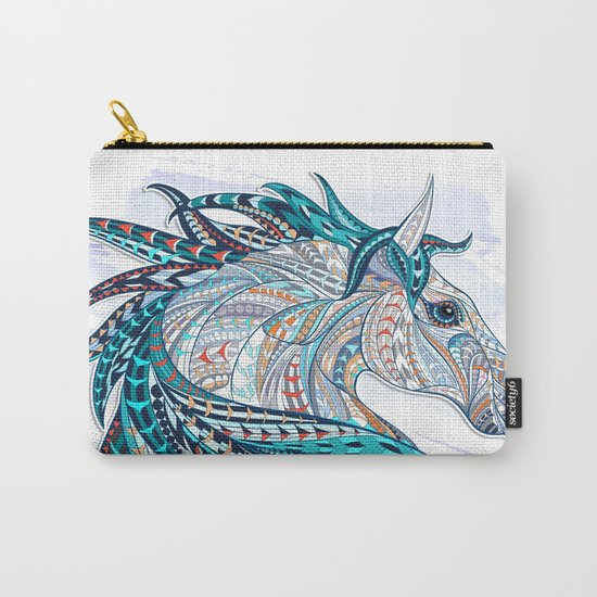 Blue Ethnic Horse Carry-All Pouch