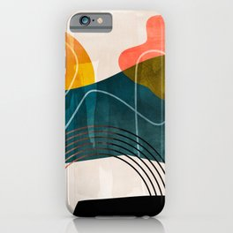 mid century shapes abstract painting iPhone Case