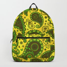Gilded Gold Emerald Green Paisley Backpack