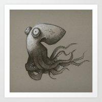 octopus Art Prints featuring Octopus by Tim Probert