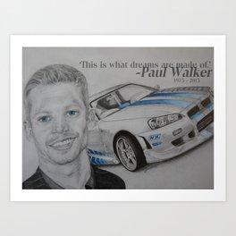 Paul Walker Tribute Art Print