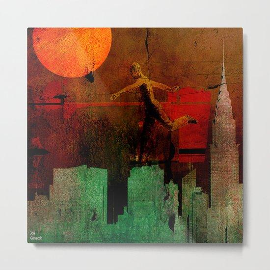Jump on the green city Metal Print