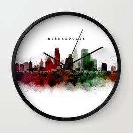 Minneapolis Watercolor Skyline Wall Clock