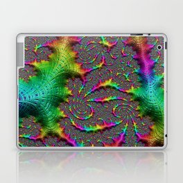 Funky Weaves Weaving Spiral Neon Rainbow Fractal Abstract Art Pattern Digital Graphic Design Laptop & iPad Skin