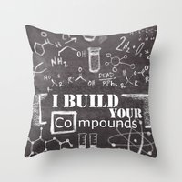 chemistry Throw Pillows featuring Chemistry Geekery by Lburleighdesigns
