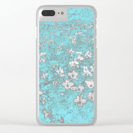 Turquoise Dogwood Blooms Graphic Art Clear iPhone Case