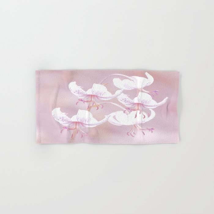 White lilies on pink background #decor #society6 Hand & Bath Towel