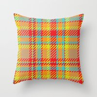 plaid Throw Pillows featuring Plaid by Xiao Twins