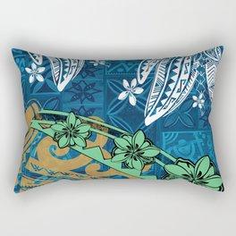 Polynesian - Samoan - Blue Hawaii Tribal Threads Print Rectangular Pillow