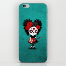 Day of the Dead Girl Playing Danish Flag Guitar iPhone Skin