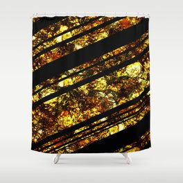 Gold Bars - Abstract, black and gold metallic, textured diagonal stripes pattern Shower Curtain