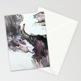 White, Black, Pink, Grey, Silver, Elephant, Acrylic, Fluid, Abstract, Painting Stationery Cards