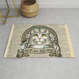 We're All Mad Here - Cheshire Cat - Vintage Dictionary Page - Alice in Wonderland Rug