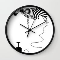 future Wall Clocks featuring future by Panic Junkie