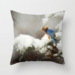 Winter Bluebird Throw Pillow
