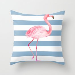 Pink Flamingo on Denim Stripe Throw Pillow