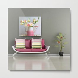 Coffee, Tea or Flowers Vignette Metal Print