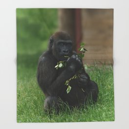 Cheeky Gorilla Lope Throw Blanket