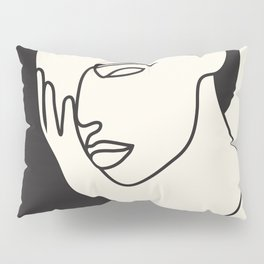 Drawing female face portrait I Pillow Sham
