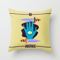 justice Throw Pillows featuring JUSTICE by badOdds
