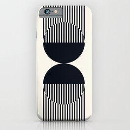 Abstraction_NEW_SUN_DOUBLE_BLACK_LINE_ART_Minimalism_014BB iPhone Case