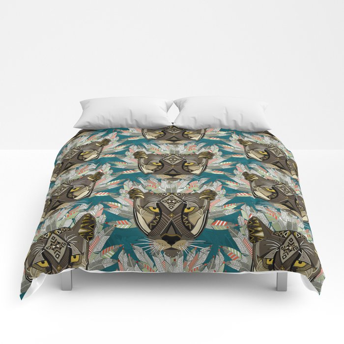 native mountain lion blue Comforters