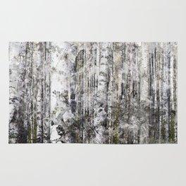 Abstract Silver Grunge Birch Rug