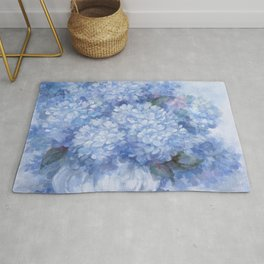 Hydrangeas in Blue Rug