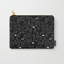 LITTLE HOUSES ((white on black)) Carry-All Pouch