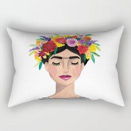 Floral Frida - Black & White Rectangular Pillow