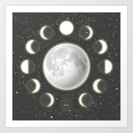 Telescope Dreamy Shine-Phases of the Moon Art Print