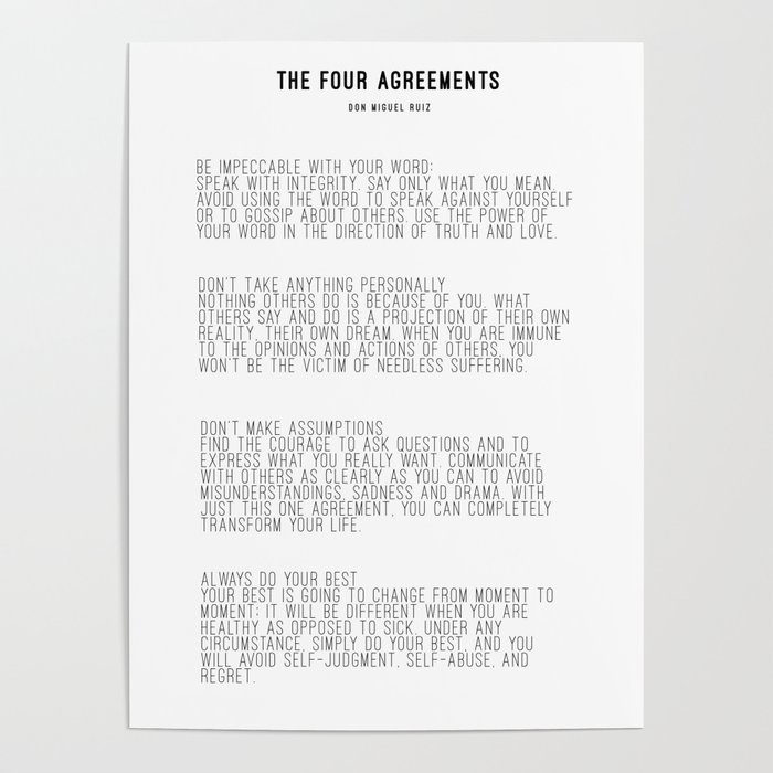 The Four Agreements Bw Minimalism Poster By Andreaanderegg Society6