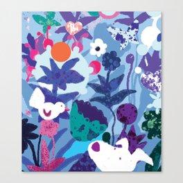 Bird and Dog in Blue Garden Canvas Print