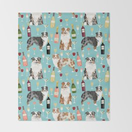 Australian Shepherd blue and red merle wine cocktails yappy hour pattern dog breed Throw Blanket