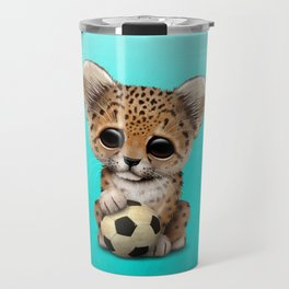 Leopard Cub With Football Soccer Ball Travel Mug