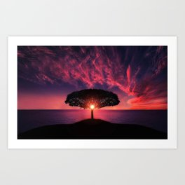 Gorgeous Coastal One Tree Hill Purple Sunset Art Print