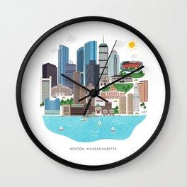 Boston Skyline Illustration Wall Clock