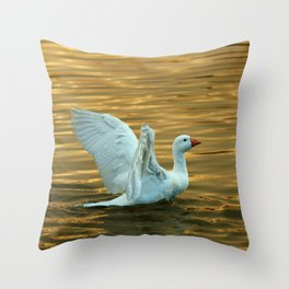 White duck on golden pond Throw Pillow