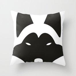 Minimalistic cute husky dog drawing lineart Throw Pillow