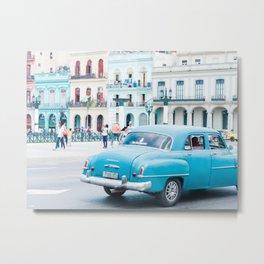 Colorful Blue Car in Old Havana Cuba Metal Print