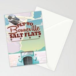 Bonneville Salt Flat Utah vintage travel poster Stationery Cards