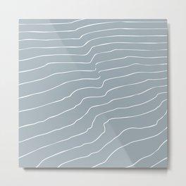 Contour Lines Grey Metal Print