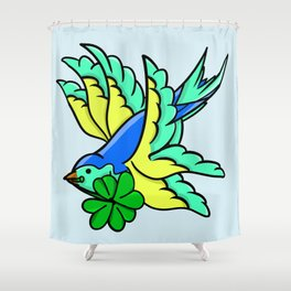 Swallow With Lucky Four Leaf Clover Shower Curtain