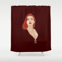 black widow Shower Curtains featuring Widow by Matthew Bartlett