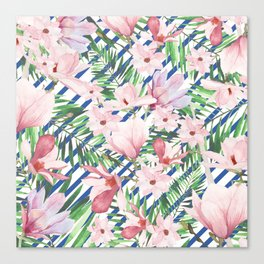 Modern blue white stripes blush pink green watercolor floral Canvas Print
