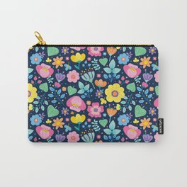 Cute Pink Yellow Green Purple Floral on Navy Blue Carry-All Pouch