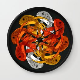 Koi carp fish dance Wall Clock