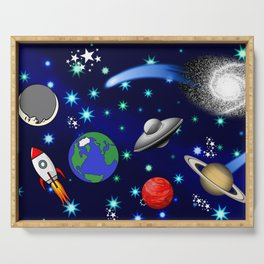 Galaxy Universe - Planets, Stars, Comets, Rockets Serving Tray