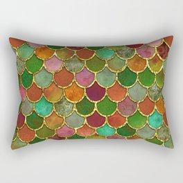 Greens & Gold Mermaid Scales Rectangular Pillow